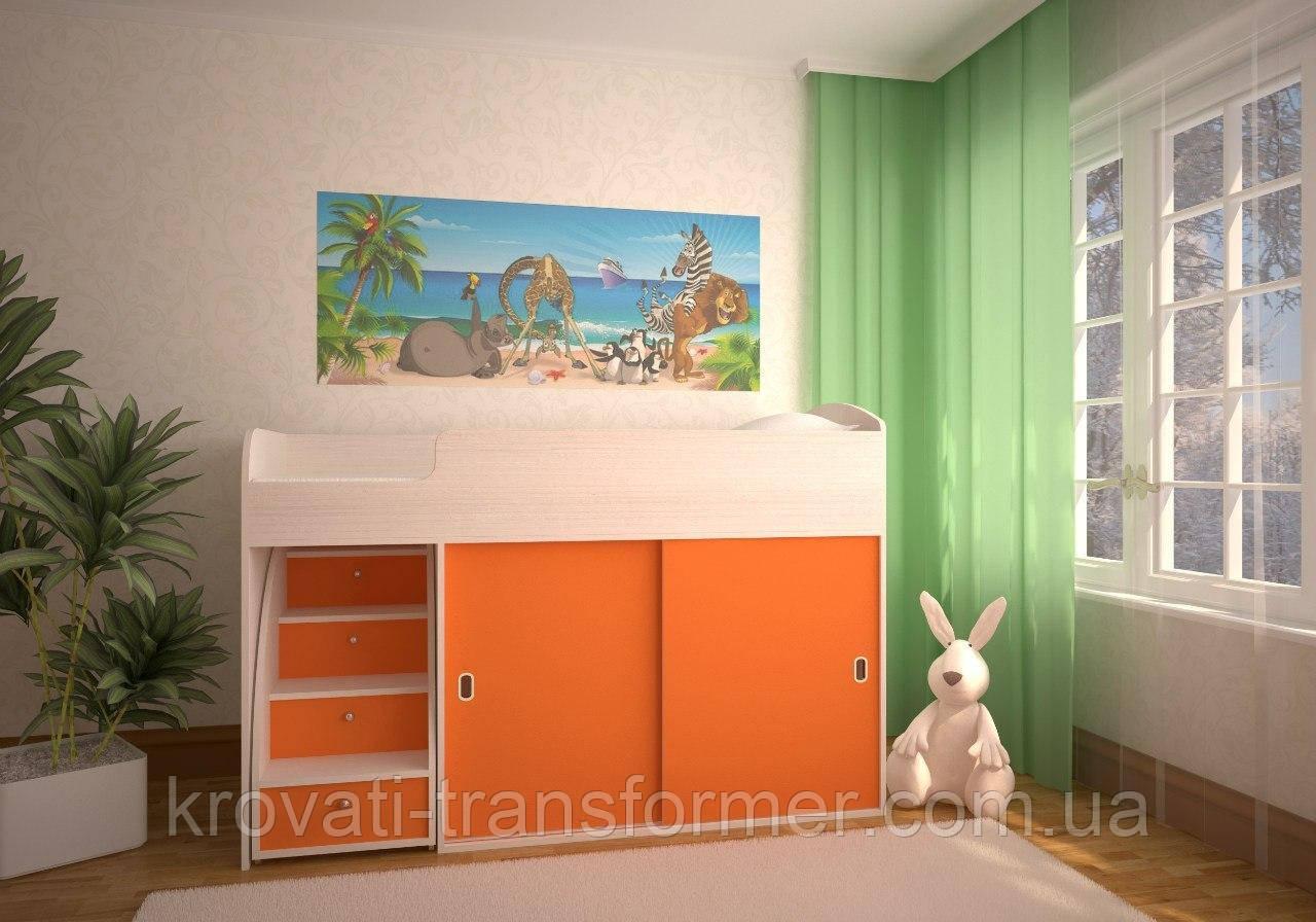 """Кровать-чердак """"Модерн"""" дуб молочный + оранжевый"""
