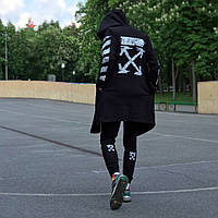 Мужская/Женская мантия-кардиган унисекс в стиле Off white Pixel чёрного цвета