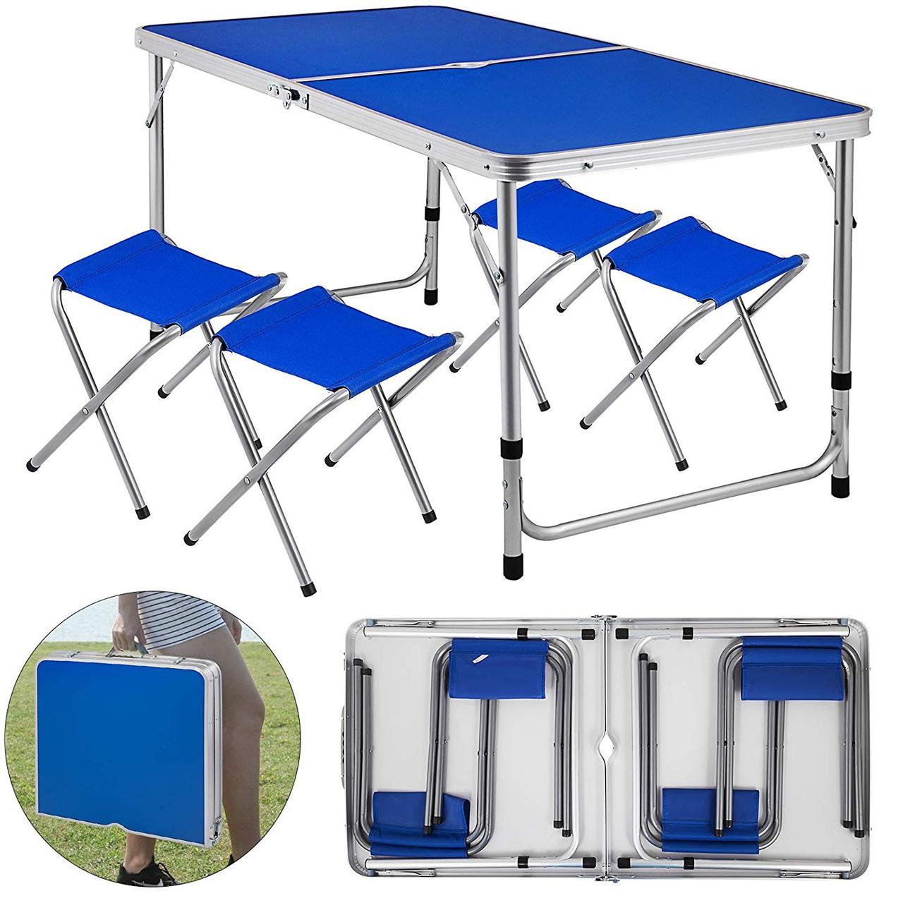 Стол складной + 4 стула для пикника - Folding table (синий)
