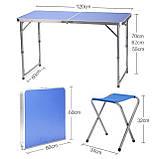 Стол складной + 4 стула для пикника - Folding table (синий), фото 3