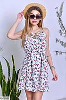 """Платье женское софт-принт тянется, пояс в комплекте (50;52;54) """"Ludvika"""" 2P/ZR-3655"""