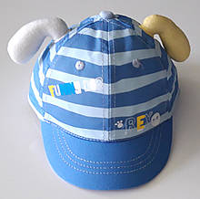 Кепка дитяча бавовняна c вушками (46-48 см) блакитна