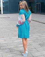 """Сукня лляна з вишивкою бірюза +сітка """"Троянда"""", фото 1"""
