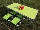 Стол складной + 4 стула для пикника - Folding table (зеленый), фото 2