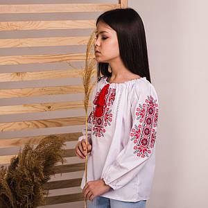 Блуза для дівчинки Соломійка з червоною вишивкою