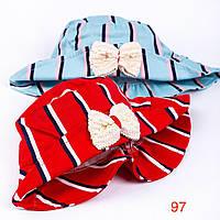 Панамка для девочки в полоску с бантом, размер 50-52