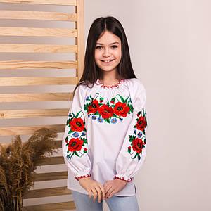 Блуза-сорочка для дівчинки з вишивкою Макове Поле