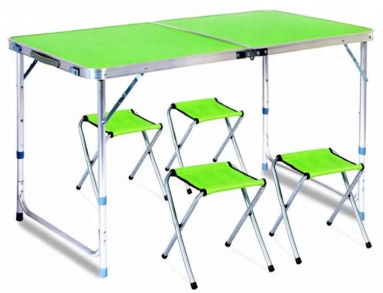 Стол складной + 4 стула для пикника - Folding table (зеленый)