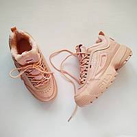 Зимние розовые кроссовки  Fila Disruptor Peach (Фила Дисраптор Персик)