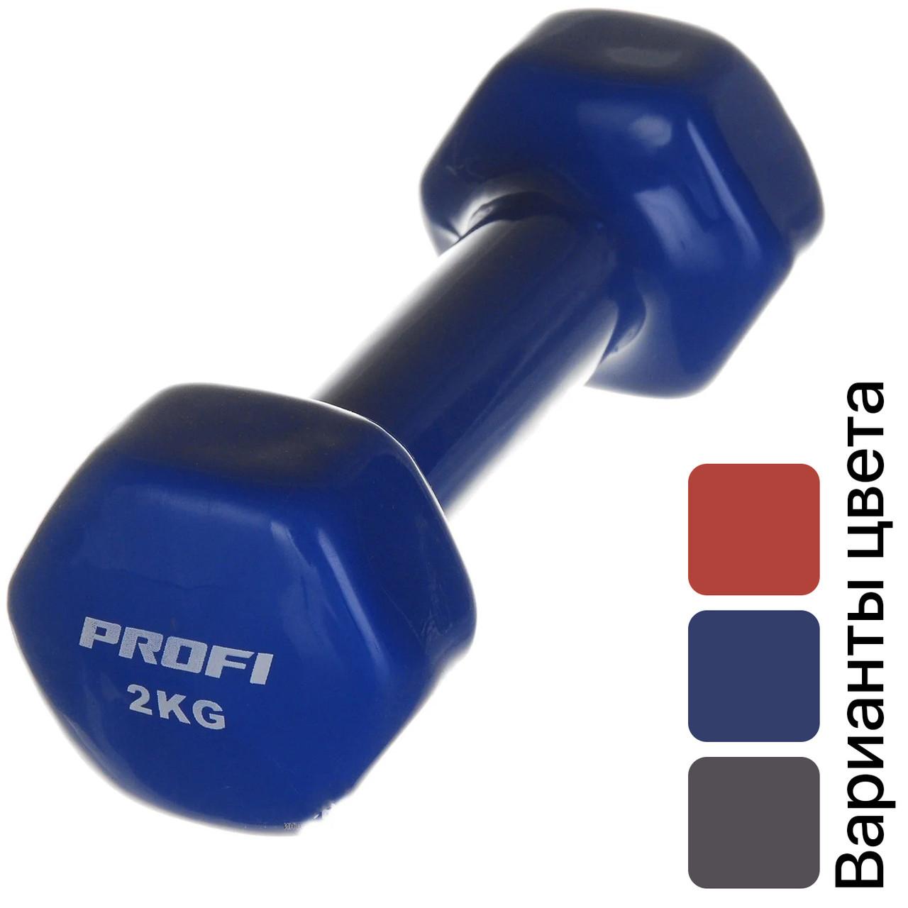 Гантель виниловая для фитнеса Profi 2 кг