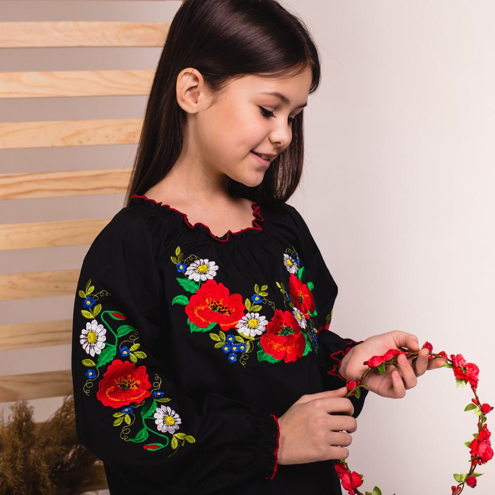 Черная блуза-сорочка для девочки Утренняя Роса