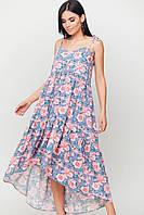 Летнее платье сарафан свободное а-силуэт из штапеля цветочный принт: S-M, M-L