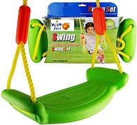 Подвесные пластмассовые качели детские на тросах Kronos Toys Swing Set 180160 Green (SUM180160)