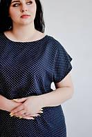 Красивое штапельное платье в мелкий горох,темно синее, большие размеры- 50,52,54,56, от производителя