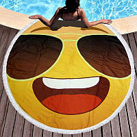 Круглое пляжное полотенце Смайлик в очках (150 см.)