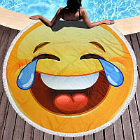 Круглое пляжное полотенце Смайлик смеющийся (150 см.)