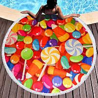 Круглое пляжное полотенце Леденцы (150 см.)