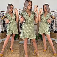 Платье женское, стильное, зеленое в горошек, летнее, STYLE, 304-068