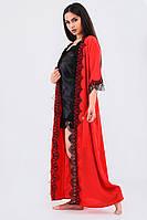 Атласный домашний комплект халат длинный+пеньюар атлас шелк,красивая домашняя одежда
