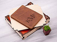 Кожаный кардхолдер для прав или ID паспорта с гравировкой инициалов, Виски