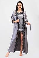 Красивый домашний комплект халат длинный с кружевом+пеньюар атлас шелк,красивая домашняя одежда