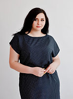 Платье в мелкий горошек летнее  черное, большой размер 50,52,54,56, штапель, от производителя
