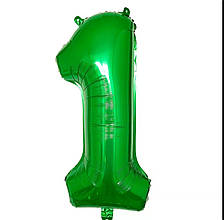 Фольгированная цифра 1 зеленая б/рисунка,  80 см