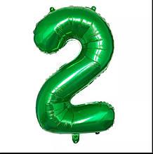 Фольгированная цифра 2 зеленая б/рисунка,  80 см