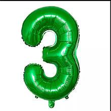Фольгированная цифра 3 зеленая б/рисунка,  80 см