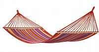 Гамак большой с деревянной планкой ткань хлопок для дачи сада отдыха планка 80 см полотно 200х80  см Красный