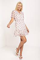 Нежное светлое женское летнее платье молочно - белое  с мелкий цветочный принт