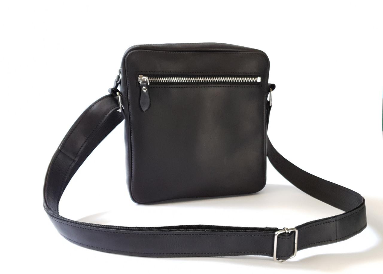 Мужская сумка через плечо GS кожаная черная