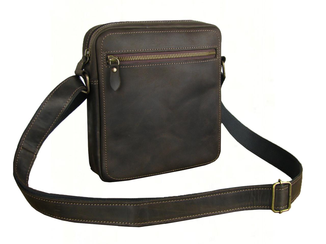 Мужская сумка через плечо GS кожаная коричневая