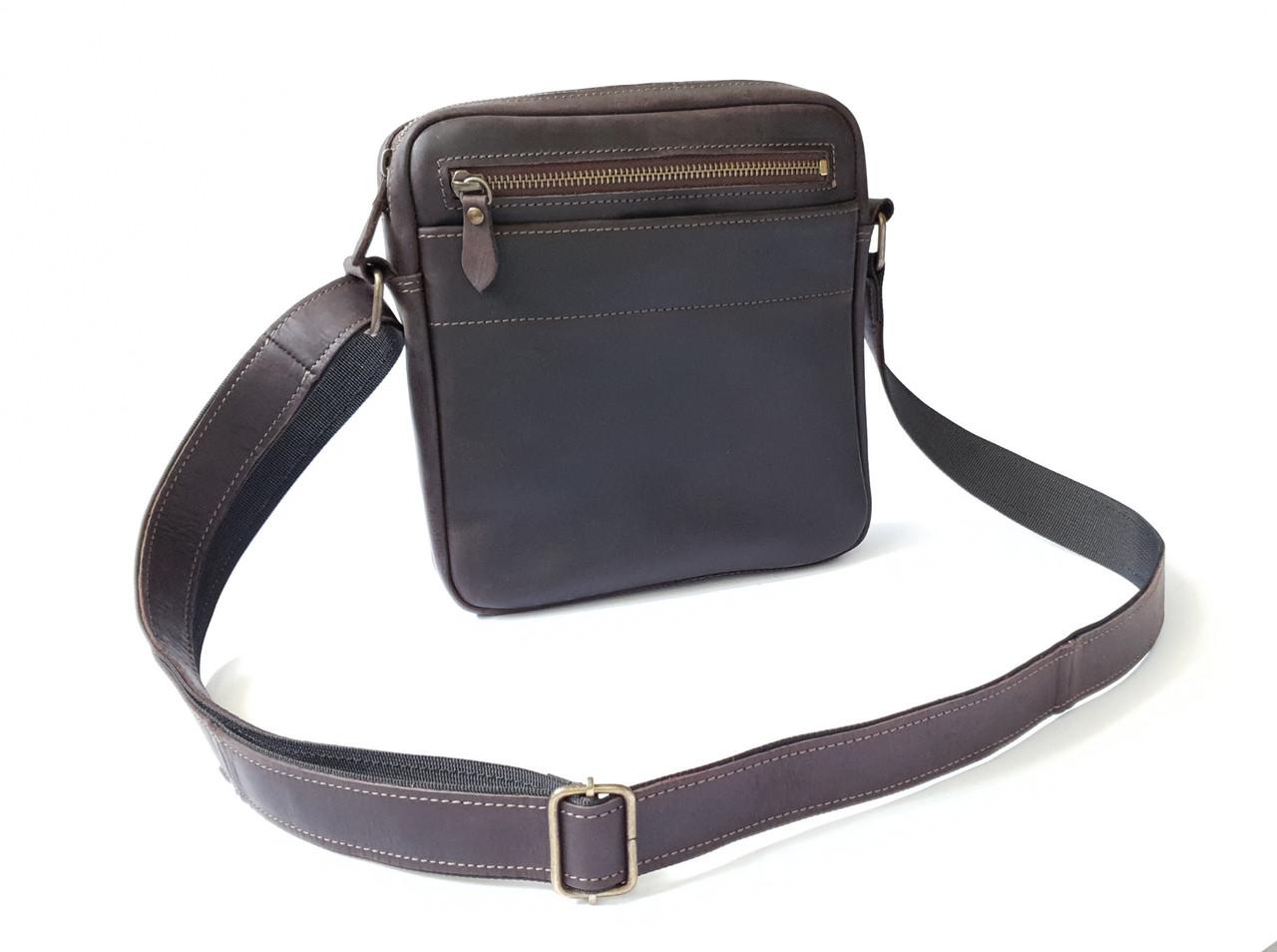 Мужская сумка через плечо GS натуральная кожа коричневая