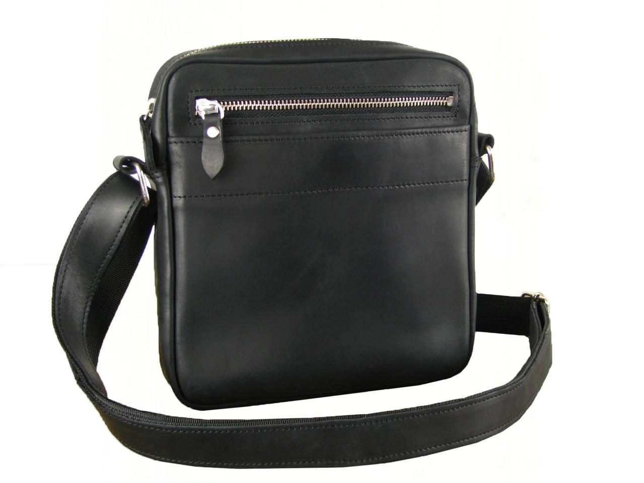 Мужская сумка через плечо GS натуральная кожа черная