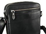 Мужская сумка через плечо GS натуральная кожа черная, фото 3