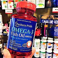Омега-3 Puritan's Pride Omega-3 Fish Oil 1000 mg 100 soft Пуритан прайд рыбий жир 1000 мг для сердца и сосудов
