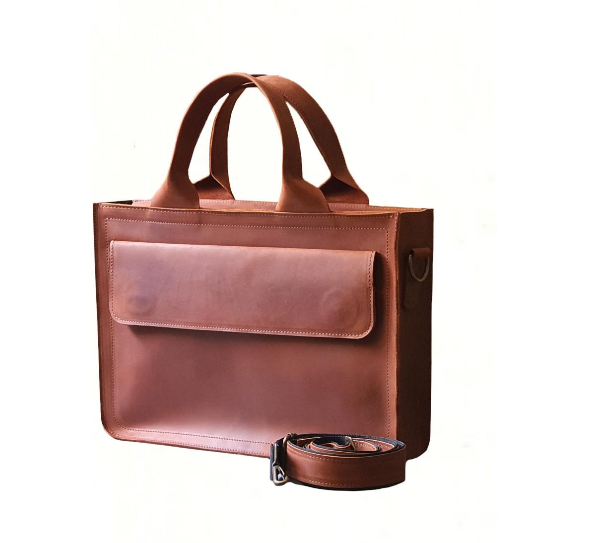 Кожаная мужская офисная сумка GS коньячного цвета