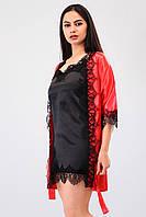 Нежный комплект для дома халат с кружевом+пеньюар атлас шелк,красивая домашняя одежда