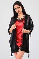 Атласная пижама для дома халат с кружевом+пеньюар атлас шелк,красивая домашняя одежда
