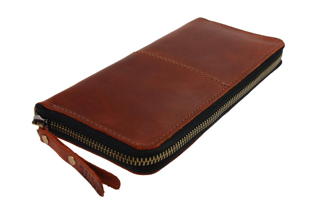 Кошелек мужской кожаный клатч большой travel SULLIVAN  kmk58-2(19.5) светло-коричневый