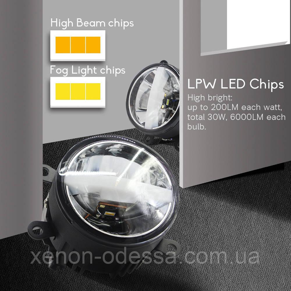 3 в 1 универсальные LED противотуманные фонари FOG White + Yellow M700 (подходят для 80% автомобилей)