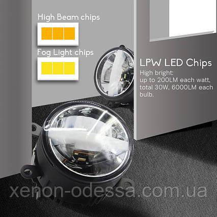 3 в 1 универсальные LED противотуманные фонари FOG White + Yellow M700 (подходят для 80% автомобилей), фото 2