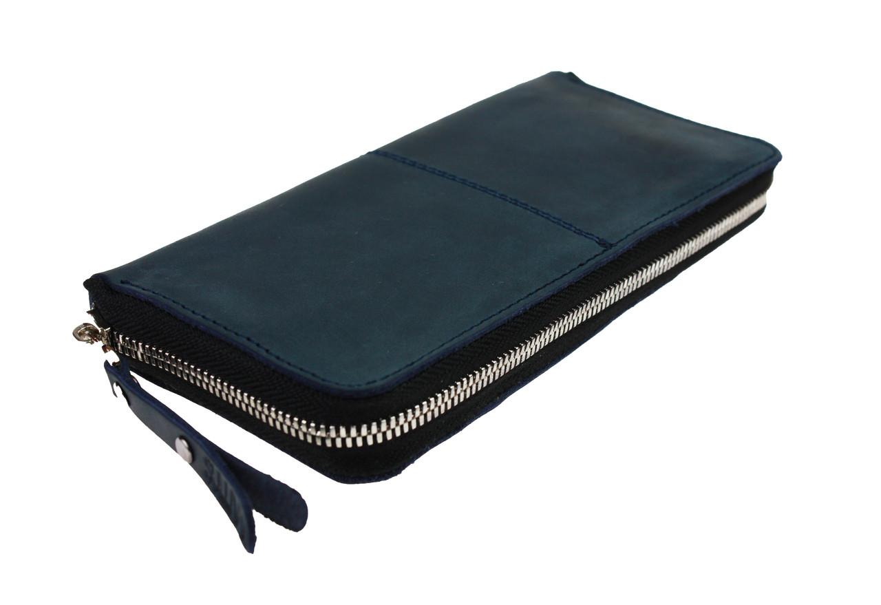 Кошелек мужской кожаный клатч большой travel SULLIVAN  kmk60-2(19.5) синий