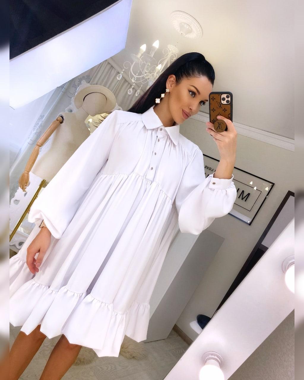 Свободное летнее платье с рубашечным верхом и длинным рукавом 20031296
