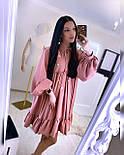 Свободное летнее платье с рубашечным верхом и длинным рукавом 20031296, фото 2