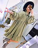 Свободное летнее платье с рубашечным верхом и длинным рукавом 20031296, фото 3
