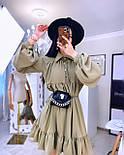 Свободное летнее платье с рубашечным верхом и длинным рукавом 20031296, фото 4