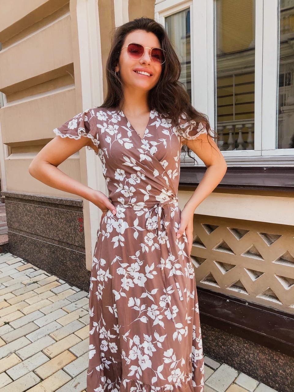Летнее платье из штапеля с коротким рукавом и длиной миди 14031310