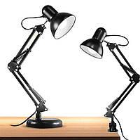 Настольная лампа со струбциной и подставкой под лампу E27  NL 0,8G черная